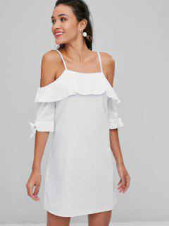 Tie Cuff Cold Shoulder Crisp Shift Dress - White S
