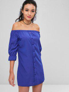 Buttons Off Shoulder Casual Dress - Blueberry Blue L