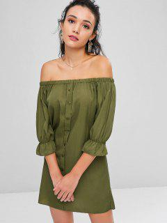 Buttons Off Shoulder Casual Dress - Army Green S