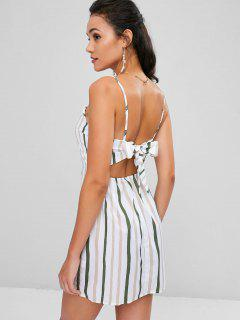 Knotted Back Stripes Cami Dress - White M