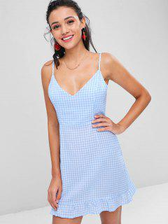 Ruffles Gingham Cami Dress - Pastel Blue S