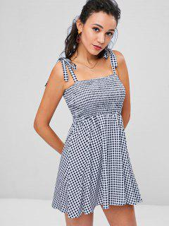 Knotted Gingham Mini Dress - Black M