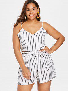 Plus Size Striped Cami Shorts Set - White 1x