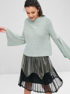 Chunky Bell Sleeve Sweater - Blue Green M