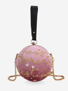 Embroidery Round Shaped Chic Crossbody Bag - Pink