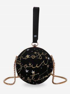 Embroidery Round Shaped Chic Crossbody Bag - Black