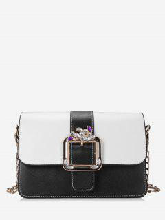 Crystal Color Block Flap Chain Crossbody Bag - Black