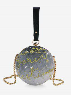 Embroidery Round Shaped Chic Crossbody Bag - Gray