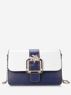 Crystal Color Block Flap Chain Crossbody Bag - Blue