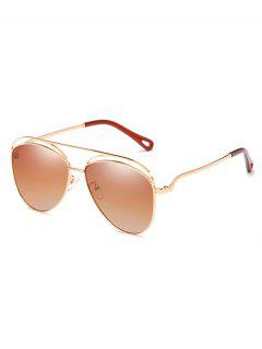 Anti Fatigue Hollow Out Frame Oversized Sunglasses - Camel Brown