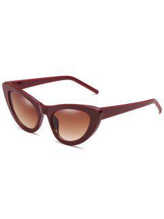 Stylish Flat Lens Thin Catty Sunglasses - Blood Red