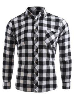 Check Print Pocket Button Up Shirt - Black Xs