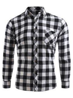 Check Print Pocket Button Up Shirt - Black L