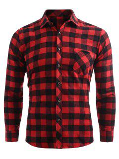 Check Print Pocket Button Up Shirt - Chestnut Red Xl