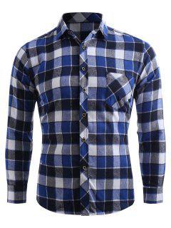 Camisa A Cuadros Con Botones De Bolsillo En El Pecho - Arrendajo Azul S