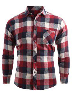 Chest Pocket Button Up Checked Shirt - Chestnut Red M