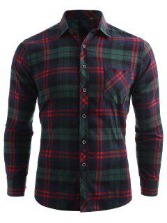 Plaid Print Pocket Button Up Shirt - Sea Green S