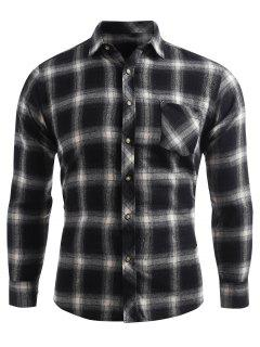 Plaid Print Pocket Button Up Shirt - Dark Gray Xl