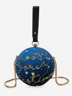 Embroidery Round Shaped Chic Crossbody Bag - Blue