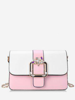 Crystal Color Block Flap Chain Crossbody Bag - Pink