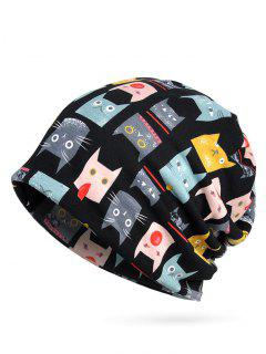 Playing Cat Decorative Slouch Beanie - Black