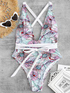 Floral Flamingo Print Plunge Swimsuit - Multi L