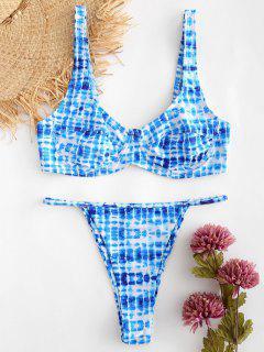 Tie Dye Underwire Bikini Set - Ocean Blue L