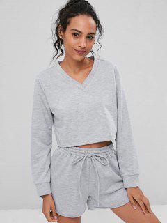 V-Ausschnitt Sweatshirt Und Shorts Co Ord Set - Grau L