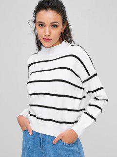 Streifen Hoher Ausschnitt Pullover - Weiß