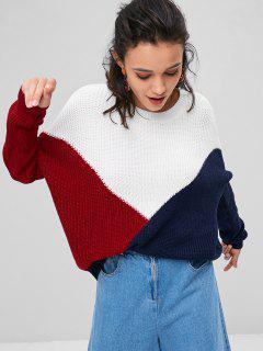 Farbblock Tricolor Übergroße Pullover - Multi S