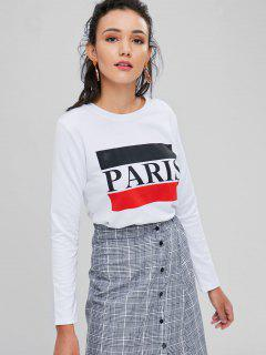 Contrast Paris Graphic Top - White S