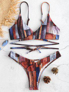 Patchwork Wickel Bikini Set - Multi L
