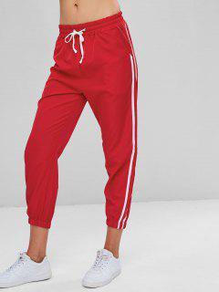 Contrasting Jogger Pants - Lava Red L