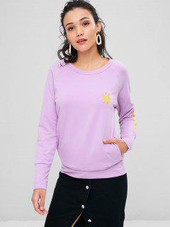 Cloud Lightning Sun Embroidered Sweatshirt - Mauve S