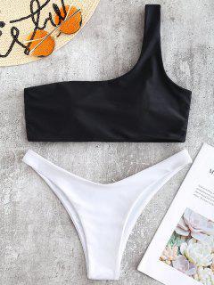 One Shoulder Two Tone Bikini - Black L