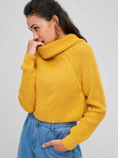 ZAFUL Cable Knit Turtleneck Cropped Sweater - Golden Brown M