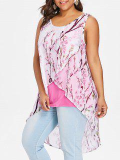 Haut En Tulle Sans Manches Motif Minuscules Fleurs Avec Tissu Superposé Grande Taille - Rose Léger  5xl