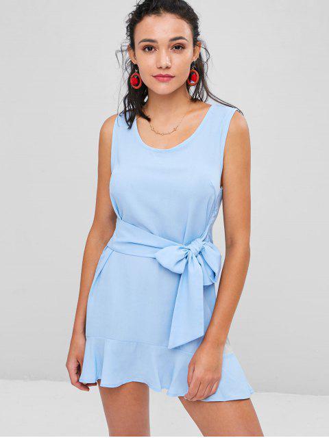 women Tie Waist Ruffle Hem Mini Dress - LIGHT SKY BLUE L Mobile