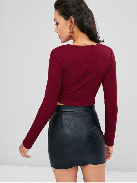 fancy Knotted Crop T-shirt - RED WINE L Mobile