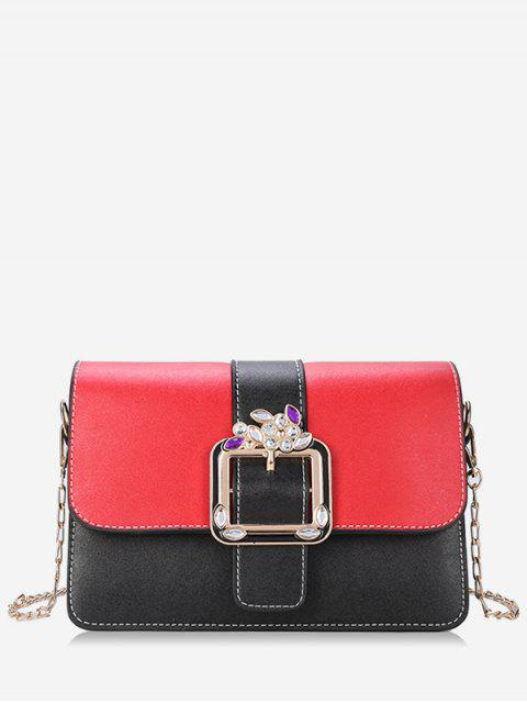 outfit Crystal Color Block Flap Chain Crossbody Bag - RED  Mobile