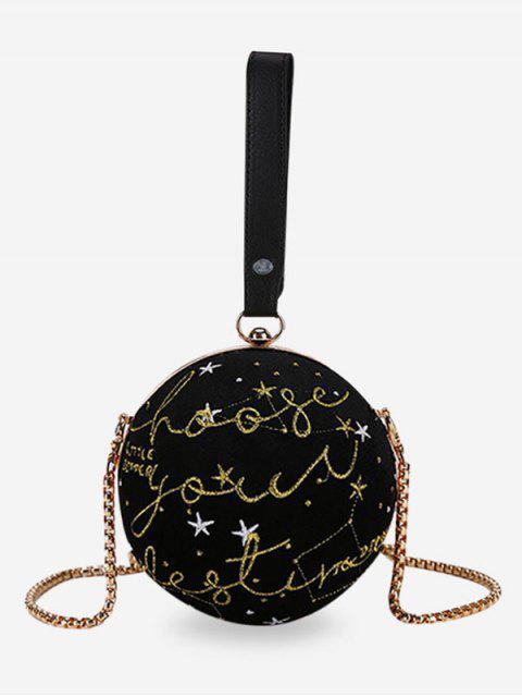 Broderie ronde en forme de sac à bandoulière chic - Noir  Mobile