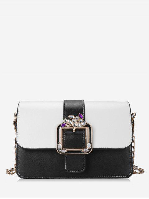 Bolsa de Crossbody con cadena de aleta y cristal color block - Negro  Mobile