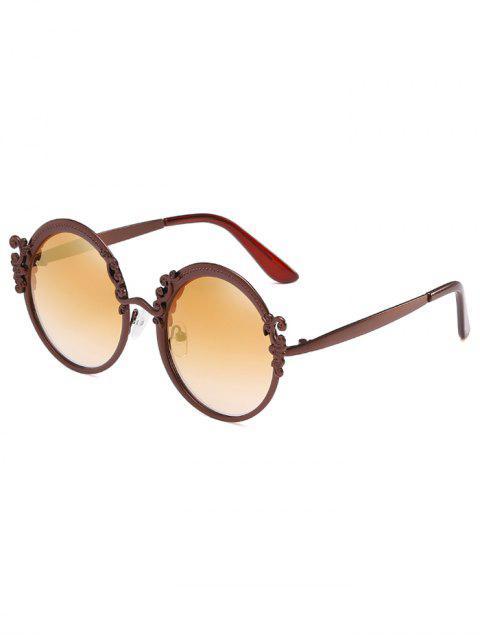 Anti Müdigkeit Oversized Geometrische Runde Sonnenbrille - Champagner Gold  Mobile