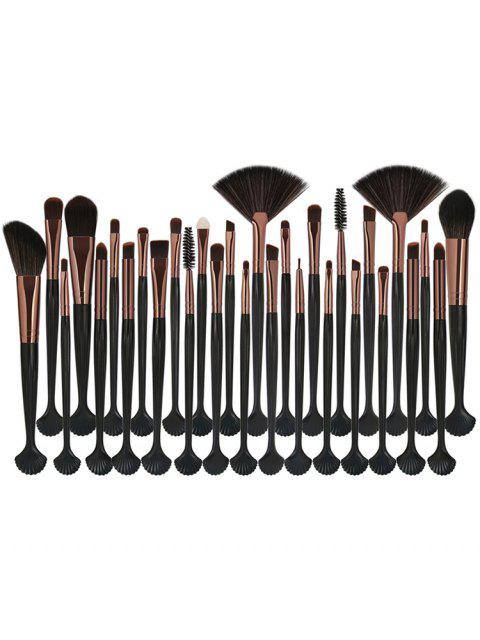 outfit Cosmetic Shell Shaped Fiber Hair Foundation Eyeshadow Eyebrow Fan Brush Collection - COFFEE  Mobile