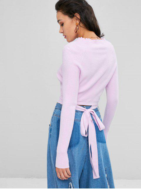 fancy Ribbed Funnel Neck Cropped Sweater - MAUVE L Mobile