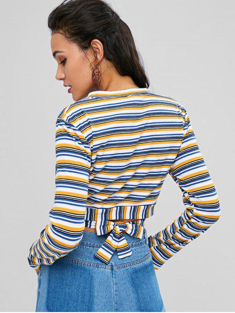 outfits Striped Wrap Cropped Top - MULTI L Mobile