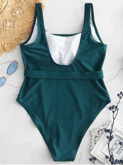unique High Cut U Neck Backless Swimsuit - MEDIUM SEA GREEN S Mobile