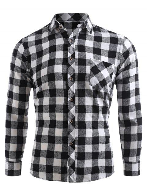 latest Check Print Pocket Button Up Shirt - BLACK XL Mobile