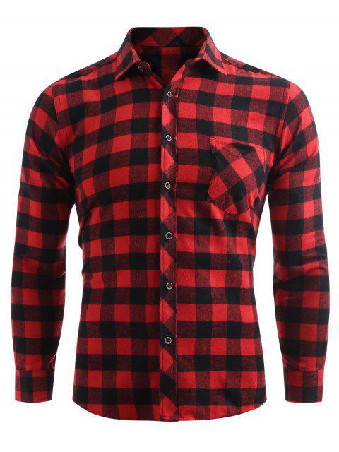 Comprobar la camisa con botones de bolsillo de impresión - Castaño Rojo XL Mobile