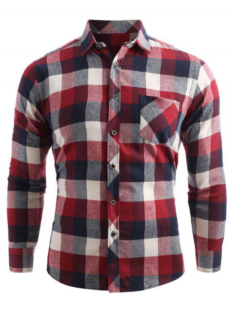 Brusttasche Knopf Oben Kariertes Shirt - Kastanie Rot XL  Mobile